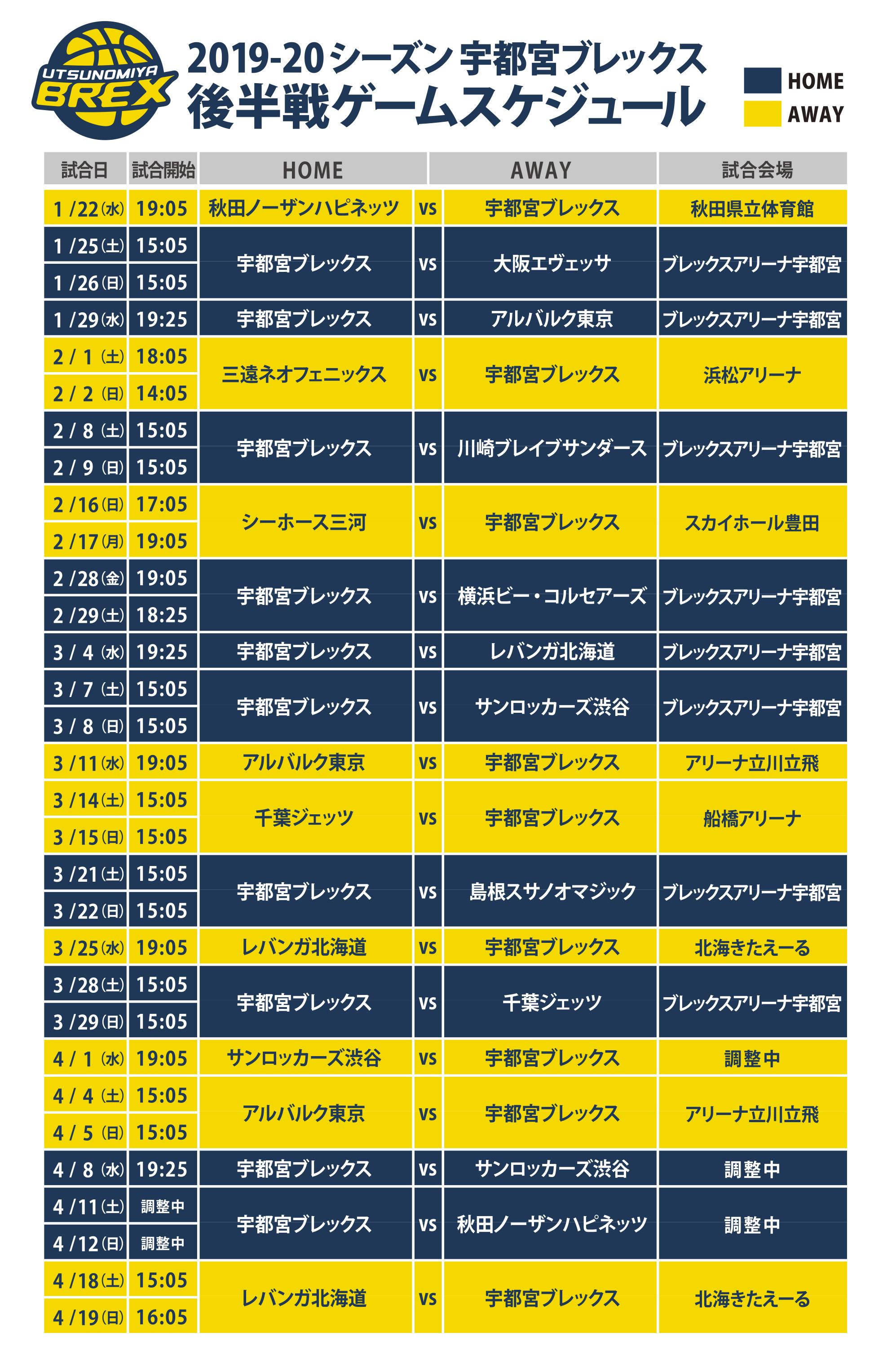 2019-20 シーズン 後半スケジュール