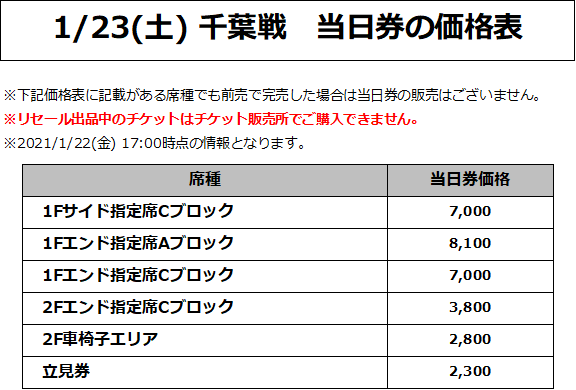 1/23(土) 千葉戦 価格表