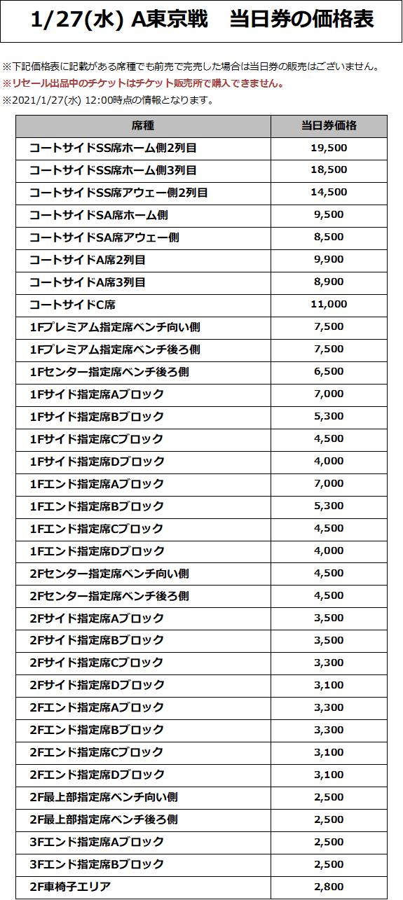 1/27(水) A東京戦 価格表