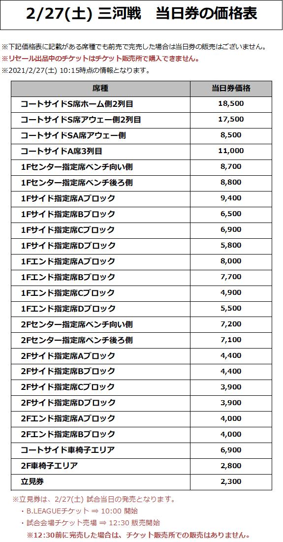 2/27(土) 三河戦 価格表