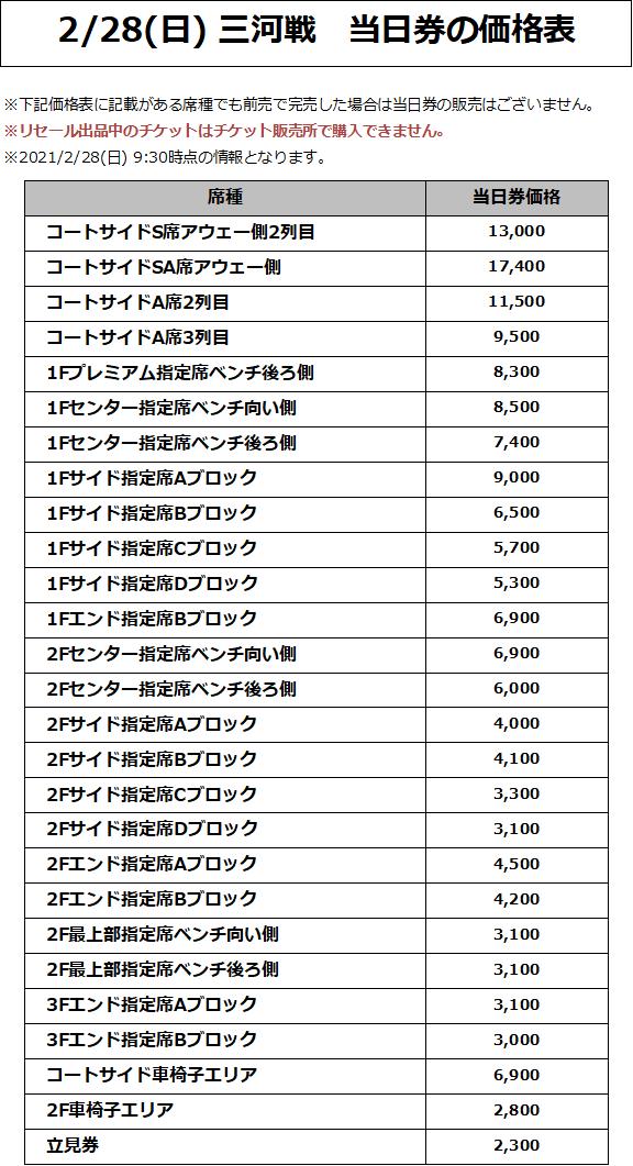 2/28(日) 三河戦 価格表