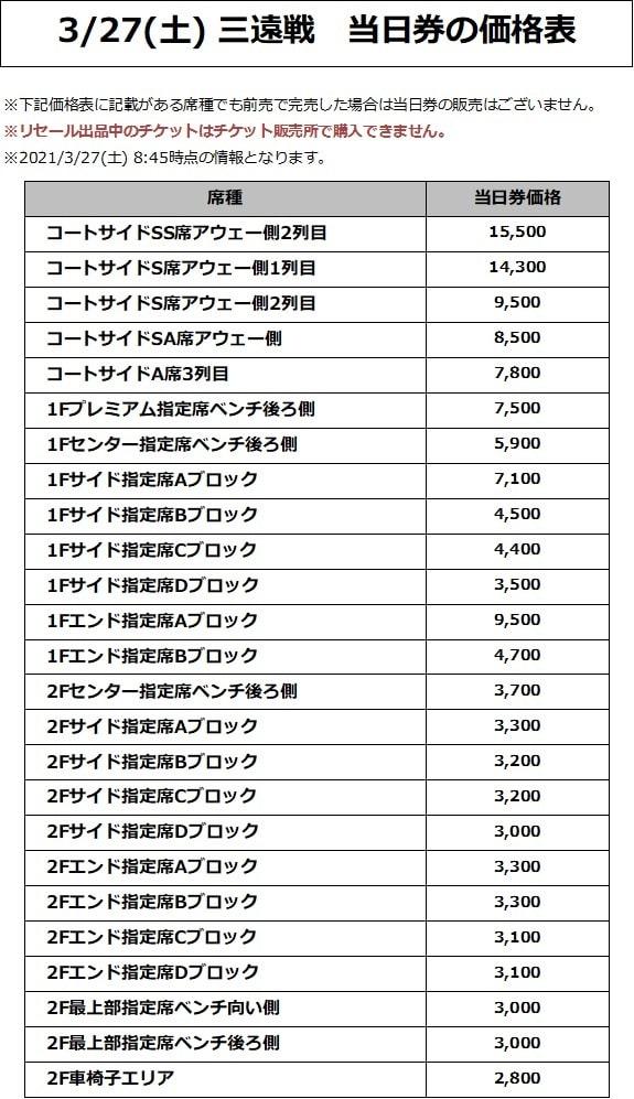 3/27(土) 三遠戦 価格表
