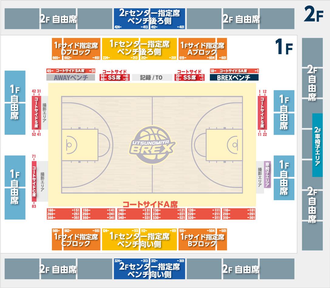 栃木県立県北体育館 全席図