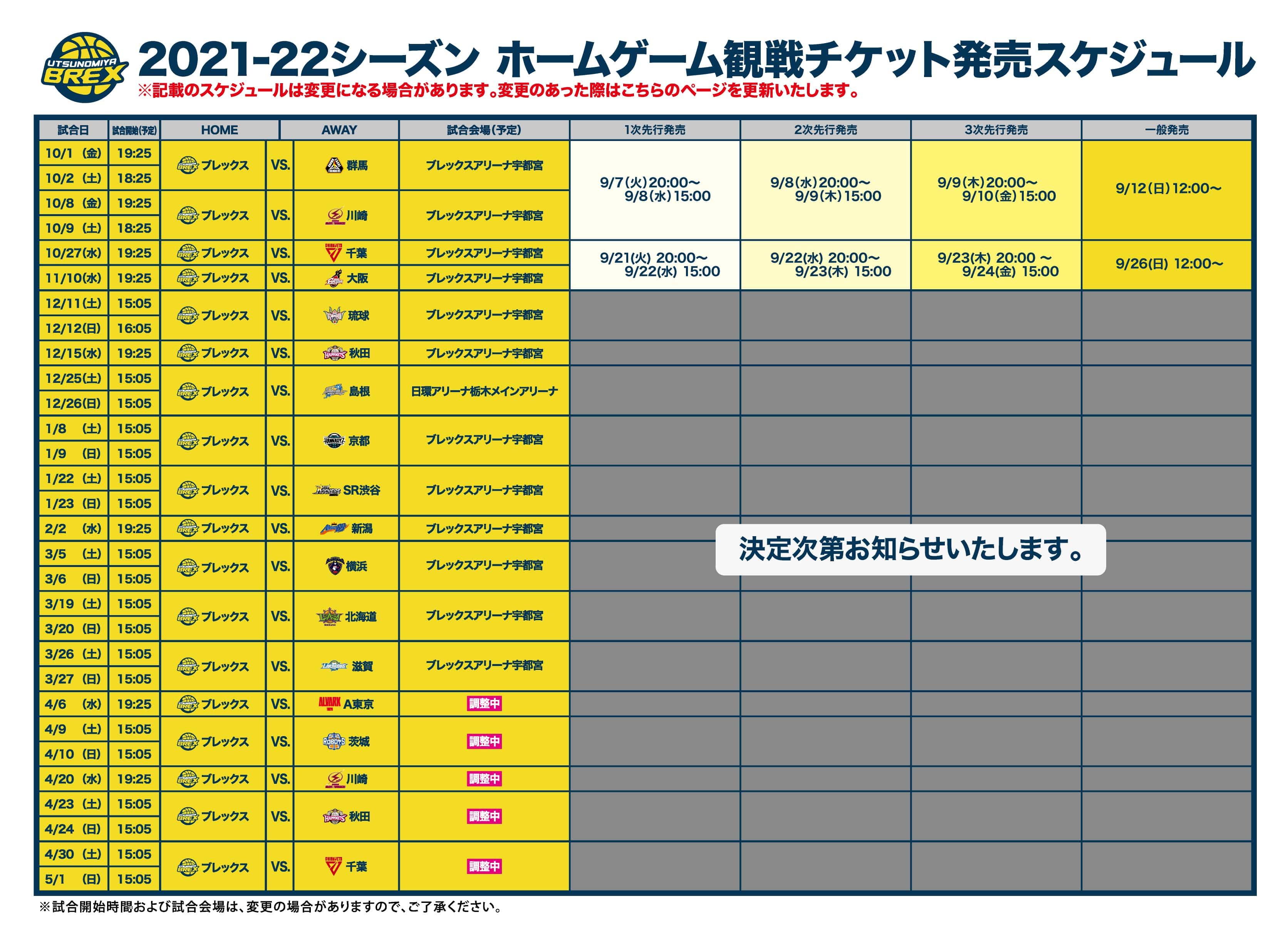 2021-22シーズン チケット発売スケジュール